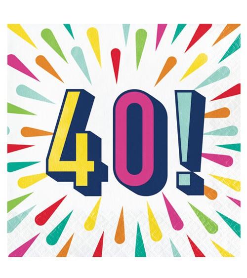 """Servietten """"Birthday Colours"""" - 40. Geburtstag - 16 Stück"""
