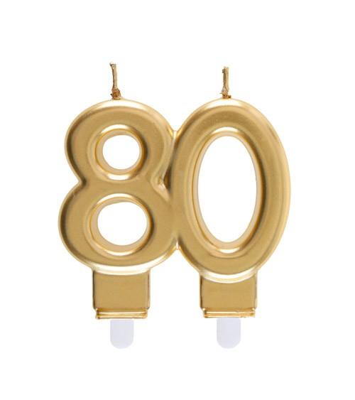 "Geburtstagskerze ""80"" - gold - 7,5 x 7 cm"