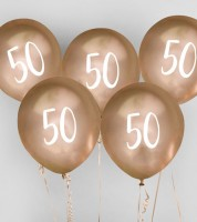 "Metallic-Luftballons ""50"" - gold - 5 Stück"