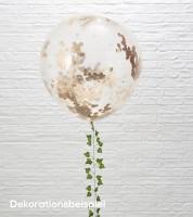 Transparente Riesenballons mit rosegoldenem Konfetti - 3 Stück