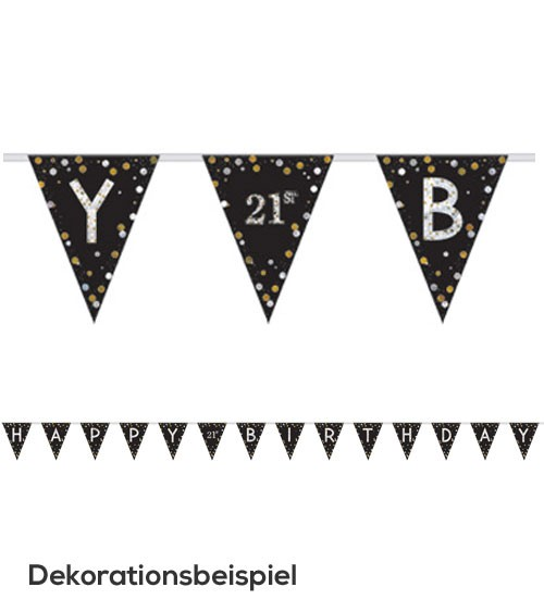 "Wimpelgirlande ""Sparkling Celebration"" - Happy Birthday - individualisierbar"