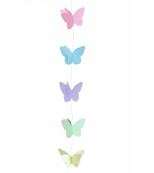 Kleine Schmetterlings-Girlande - pastell - 2 m