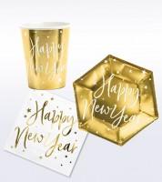 "Silvester-Deko-Set ""Happy New Year"" - weiß & gold - 32-teilig"