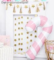 "Supershape-Folienballon ""Zuckerstange"" - rosa/weiß - 46 x 74 cm"