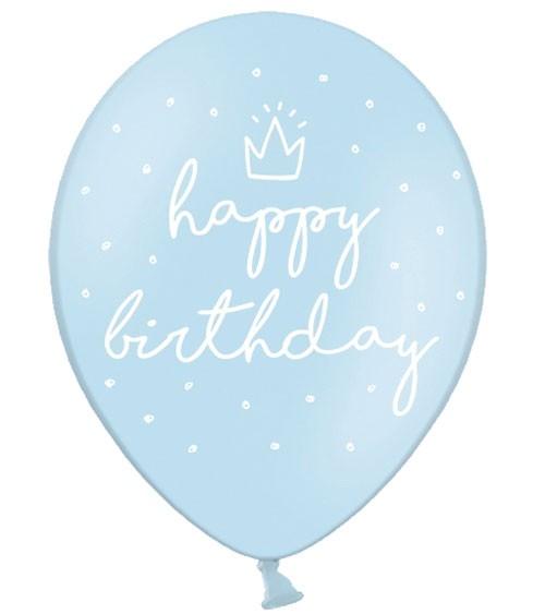 """Luftballons """"Happy Birthday"""" - pastellblau - 6 Stück"""