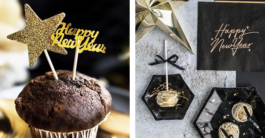 Dein Tisch zu Silvester wird in Schwarz und Gold unglaublich stilvoll aussehen