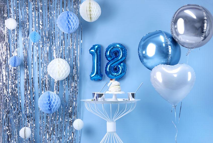 Deko Zum 18 Geburtstag In Blau Und Silber Pink Dots Partystore