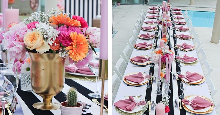 Dekorier deine lange Dinnertafel mit Tischläufer und Blumen (c) Voth Immobilien