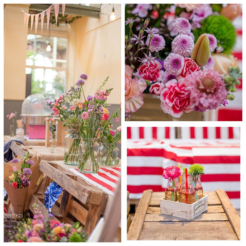 Tolle Farmers-Marke-Deko mit echten Blumen