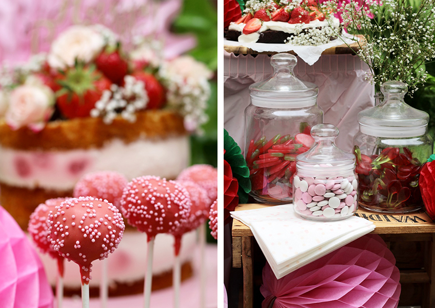 Fruchtig, süß und lecker - Erdbeer-Cake-Pops und Candybar im Erdbeerlook
