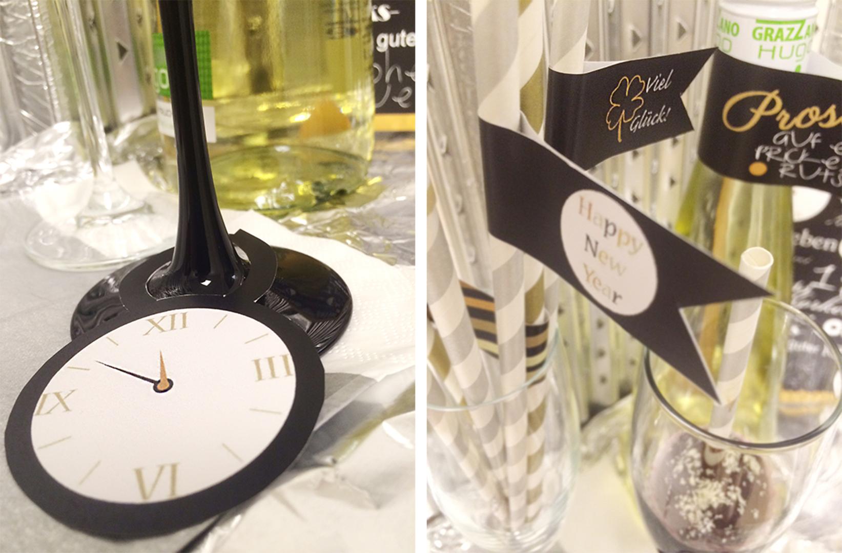Schmückt eure Strohhalme mit kleinen DIY-Fähnchen und eure Sektgläser mit coolen Uhranhängern