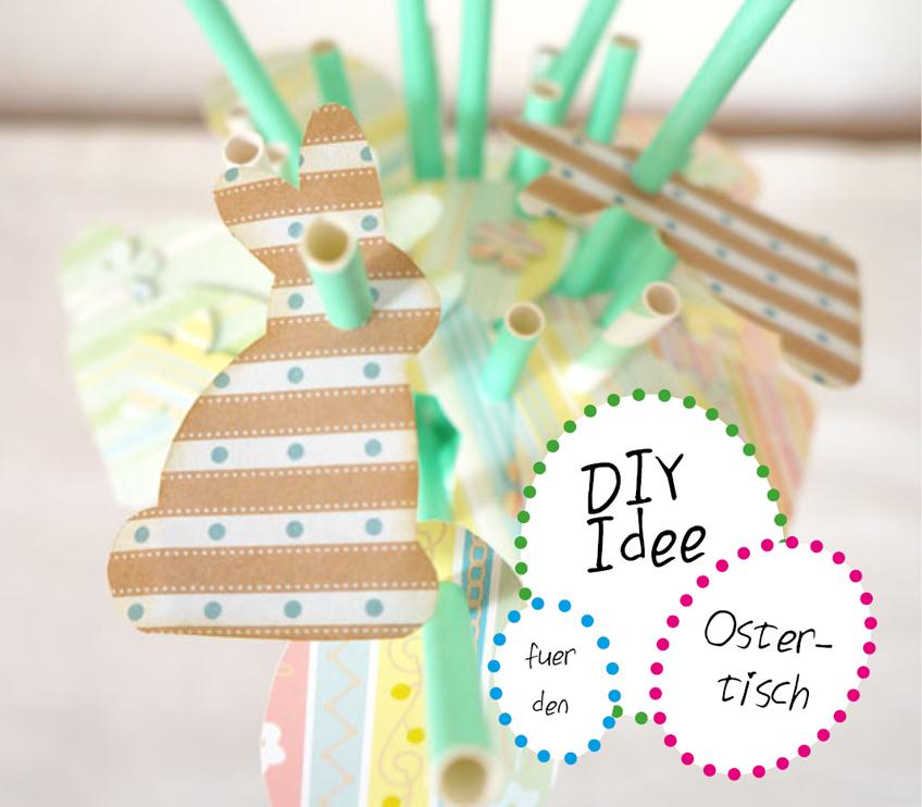 Mit der Osterhasen-Schablone schafft ihr super Osterstimmung - ihr braucht nur ein paar schöne Paper Straws und etwas Bastelzeug