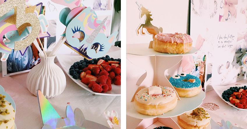 Einhorn-Sweet-Table mit gesunden Snacks und Soulfood © Foxes Heartbeat