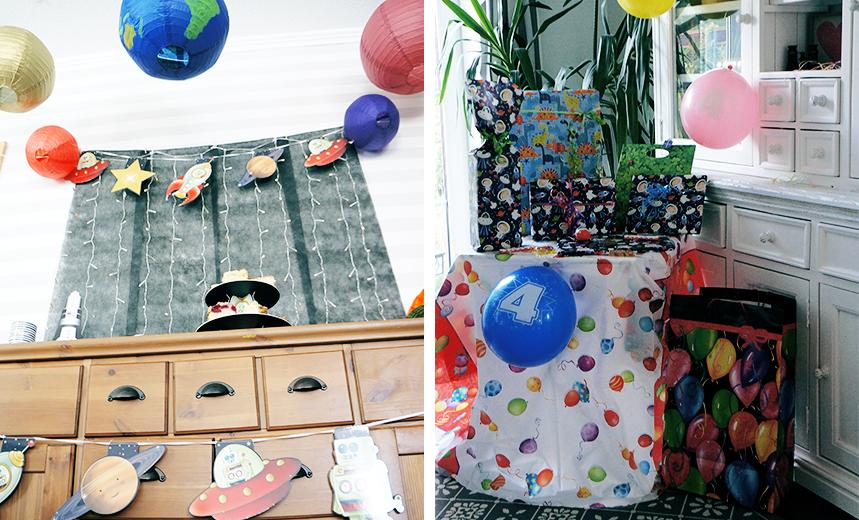 Geschenkpapier mit Weltraummotiven und ein Sweet Table aus einer anderen Dimension