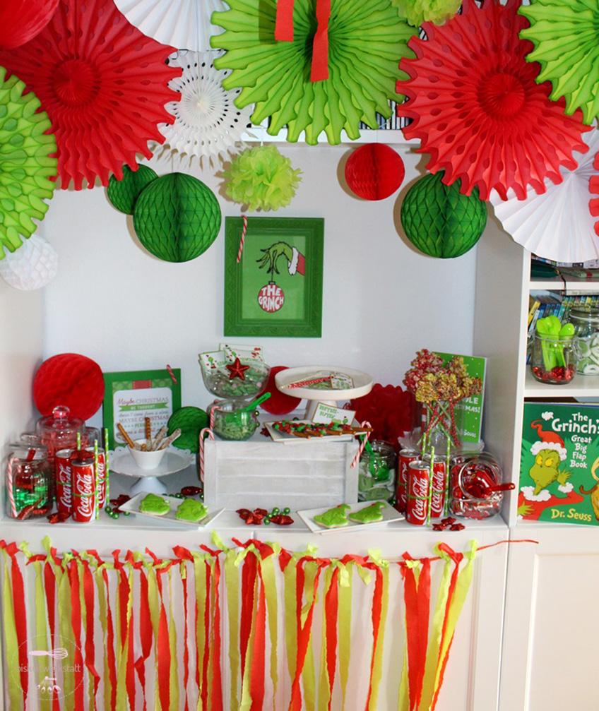Grinch Mas Feiern In Rot Grün Zu Weihnachten Pink Dots Partystore