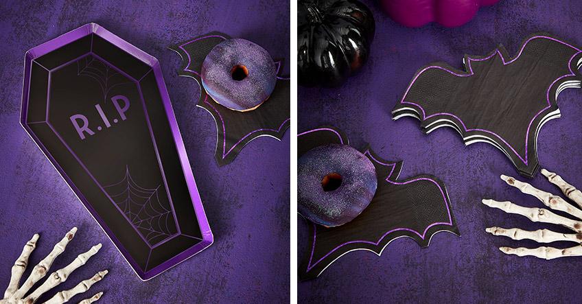 Sarg-Teller und Fledermaus-Servietten für ein fancy Halloween