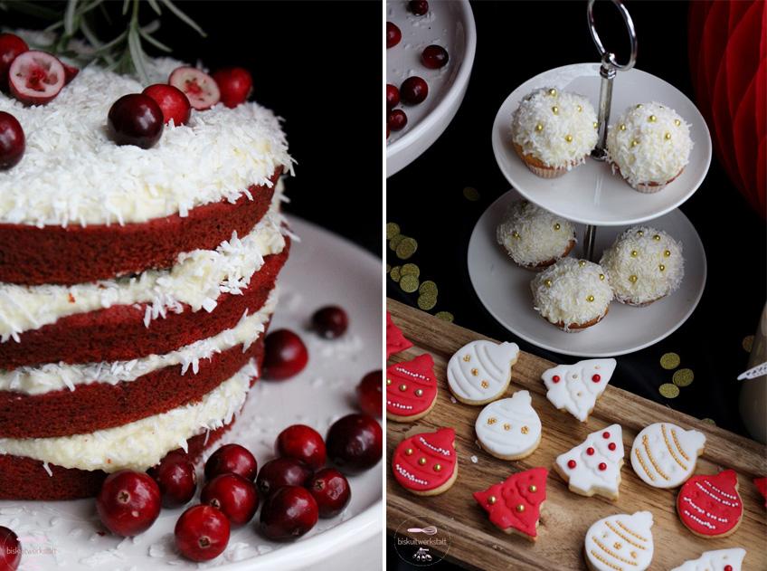 Der angesagte Naked Red Velvet Kuchen und die süßen Schneeball Muffins sind zauberhafte Eye-Catcher