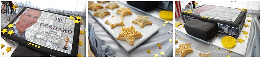 Auf dem oscarverdächtigen Sweet Table finden wir eine tolle Filmtorte und Hollywood Star Cookies