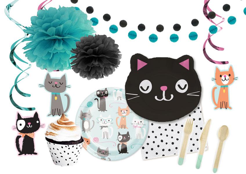Katzenpartydeko für Jungs und Mädchen, die kein Rosa mögen - trotzdem farbenfroh dank Mintgrün und Blau