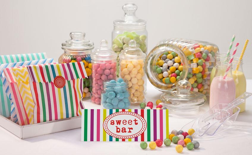 Die kunterbunte Candybar mit leckeren Süßigkeiten zum Kindergeburtstag und zu Fasching