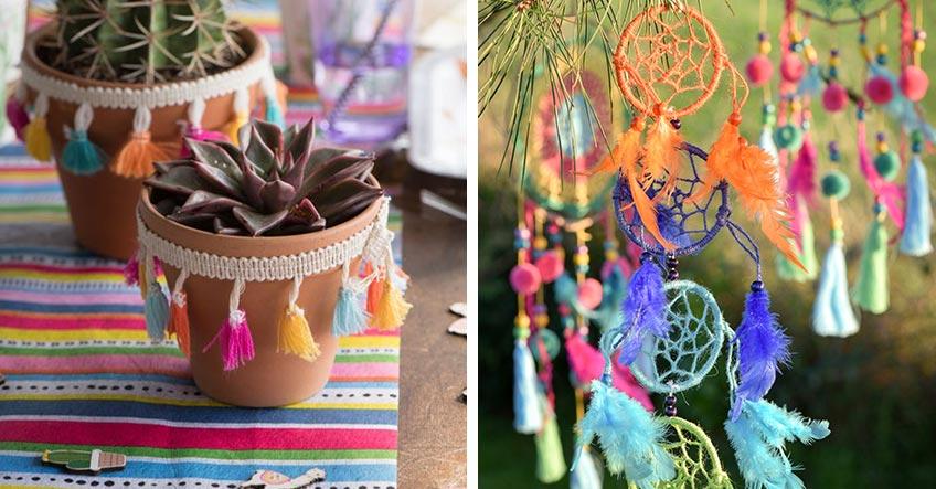 Feier eine Sommerparty mit Deko im bunten Mexican Boho Stil