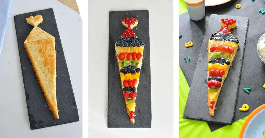 Speziell für dein Schulkind: die Mini-Schultüten-Obsttorte mit den Lieblings-Zutaten deines Kindes
