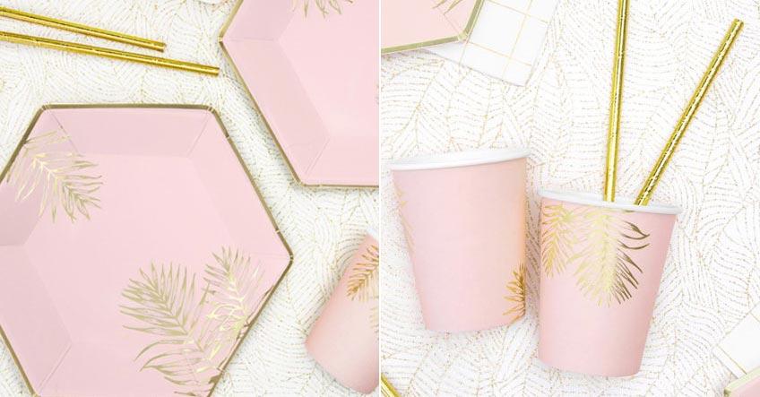 Versuch mal die stylische Palmendeko in Rosa und Gold - du findest sie bei uns im Shop :)