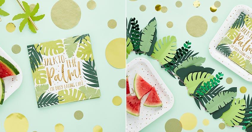 Dekorier deine Sommerparty mit Palmenblättern und frischem Obst