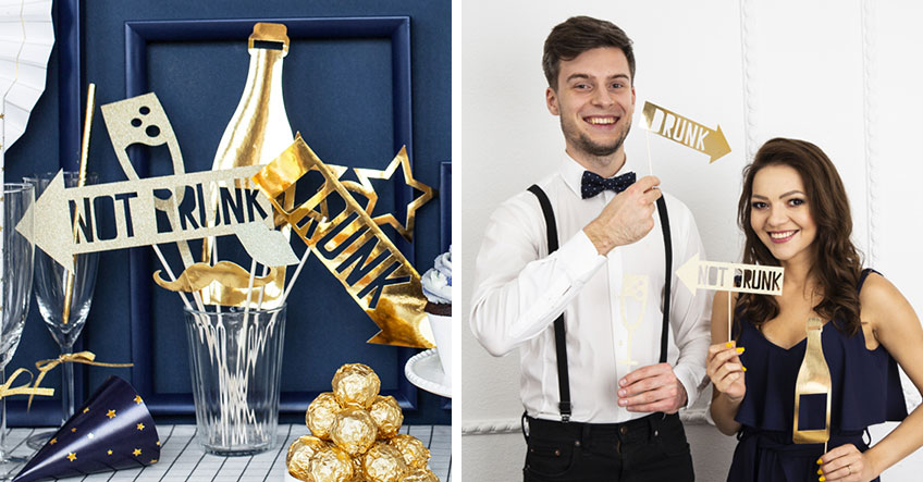 Mach tolle Silvesterfotos mit Photobooth-Accessoires in Gold