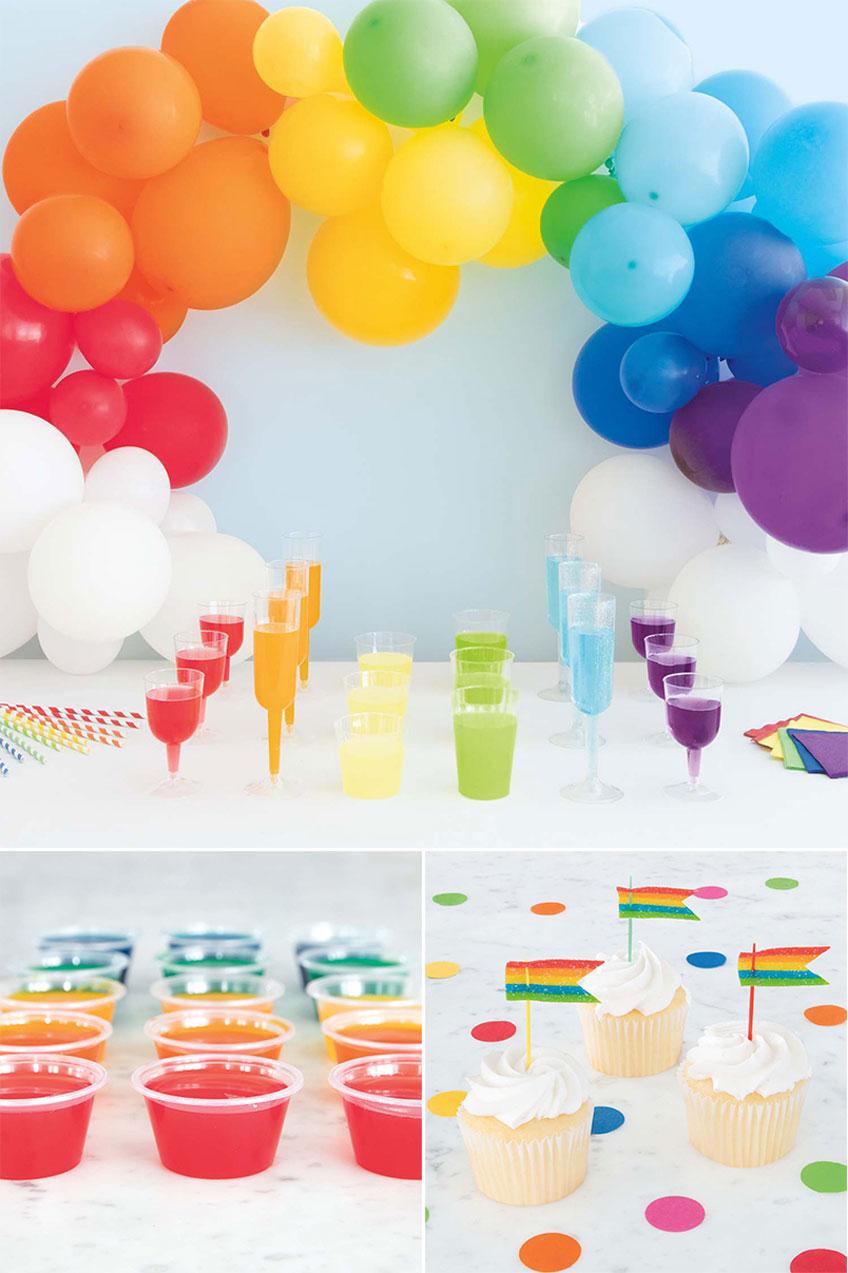 Mach eine regenbogenbunte Limo-Bar zur Mottoparty