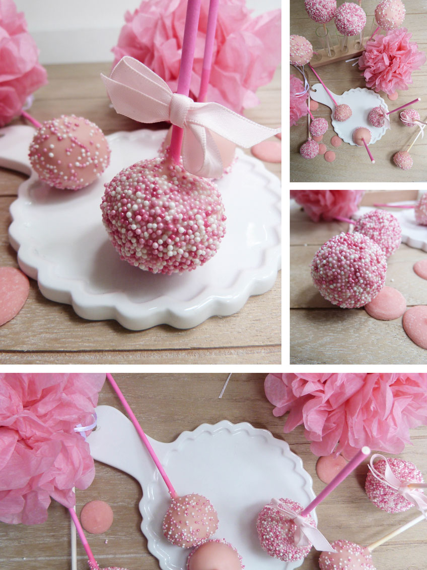 Rosa Cake Pops im Perlenkleid mit romantischer Dekoration