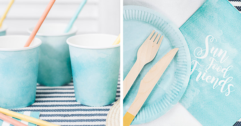 Tolles Geschirr in Himmelblau für das Picknick mit Freunden im Sommer - hol es dir