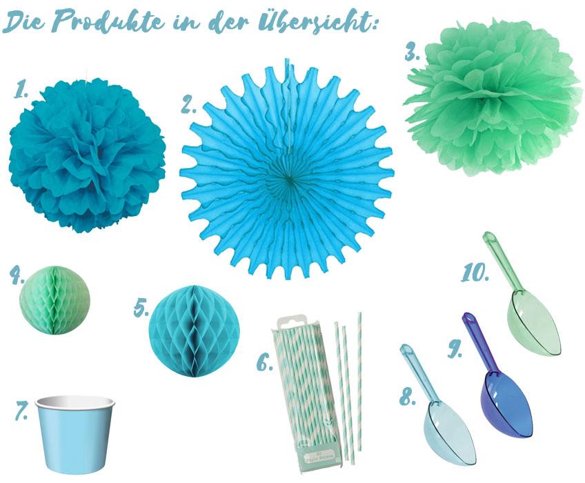 Alle Produkte, mit denen ihr den Aqua Sweet-Table ganz einfach nachstylen könnt.