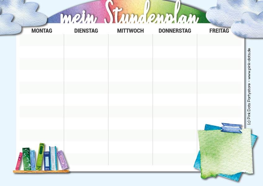 Ein farbenfroher Stundenplan zum Selbstausdrucken für den Schulanfang