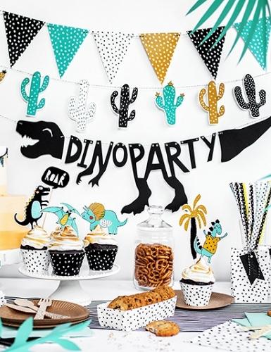 """Die Deko-Serie """"Dinoparty"""" mit ihren lustigen Sauriern im Comicstil sorgt für eine tolle Deko auf dem Kindergeburtstag"""