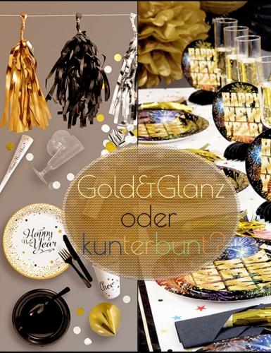 Gold und Glanz oder kunterbunt? Mit welcher Silvesterdeko feiert ihr?