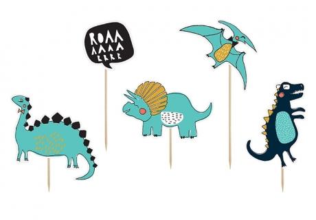 Die Comic-Dinosaurier machen Spaß und schmücken eure Cupcakes auf der Dinoparty