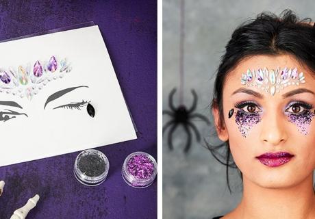 Edler Gesichtsschmuck zu Halloween - anklebbare Steine und Glitzer