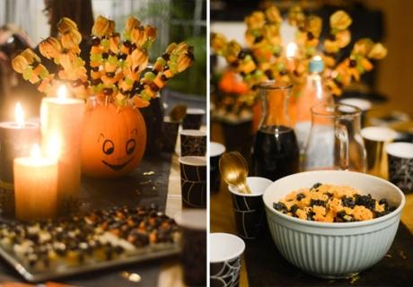 Snacks für die Halloween-Kinderparty: Obst-Kürbis, Spinnen-Eier und Grusel-Nudeln
