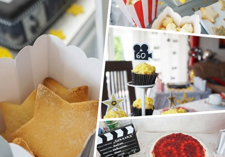 Oscar-Mottoparty mit einem Sweet Table mit toller Hollywood-Deko