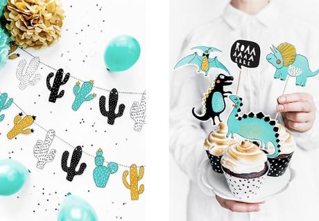 Der Sweet Table auf der Dinoparty sieht noch besser aus, wenn ihr Dino-Motive und etwas Naturdeko einbringt, z.B. eine coole Kaktus-Girlande und ein paar Cupcake-Topper