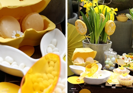 Der osterliche Sweet Table in Gelb - mit gelber Bonbonschaufel