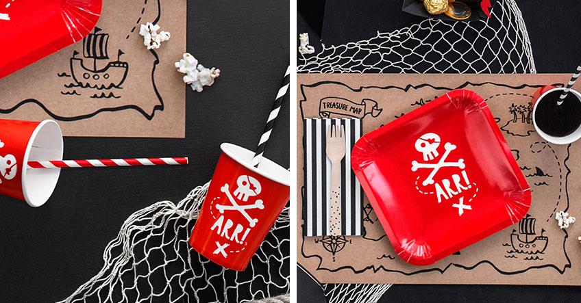 Hol dir zur Piratenparty Geschirr mit Totenkopf auf den Kindergeburtstag